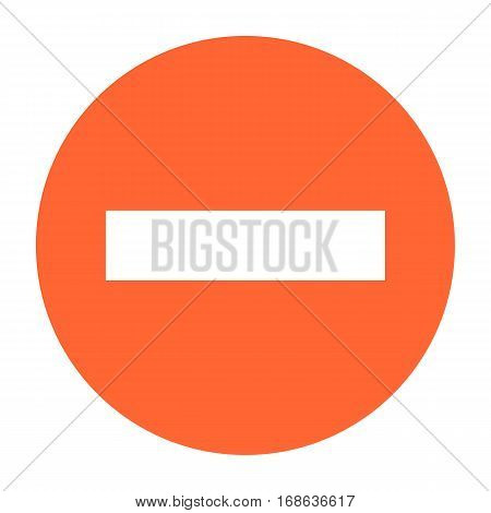Flat minus icon circle subtraction sign round removing button. Quick and easy recolorable shape isolated from background. Vector illustration a graphic element for web internet design.