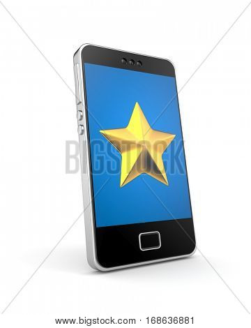 Mobile phone with gold star icon. Favorite concept. 3d illustration