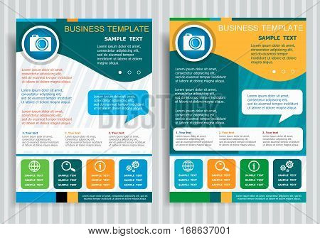 Camera Symbol On Vector Brochure Flyer Design Layout Template, Size A4.