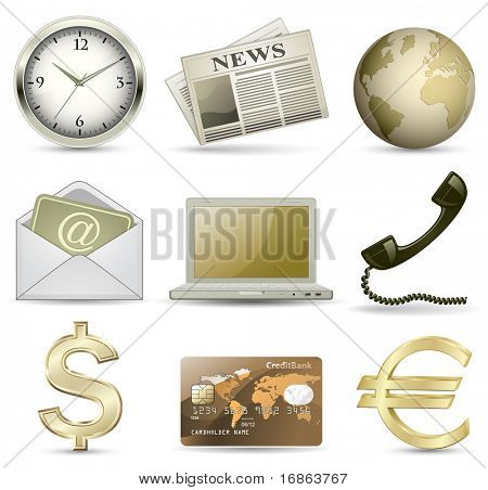 Business website gold icon set