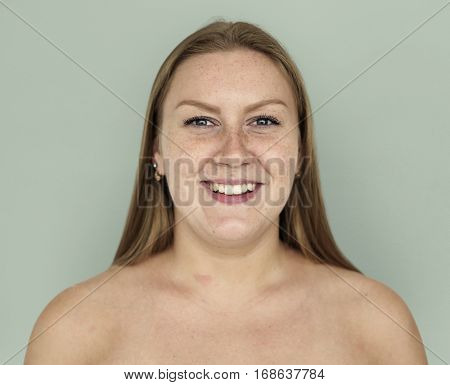 Woman Ginger Hair Bare Chest Smiling Portrait