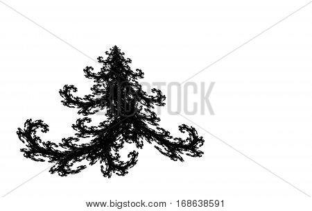 black fractal Christmas tree on white background