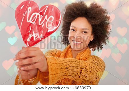 Beautiful Woman Holding Her Gift Lollipop