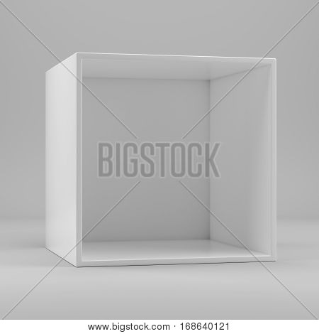 White empty clean shelf box, on gray background. 3d rendering. Template shelf or showcase