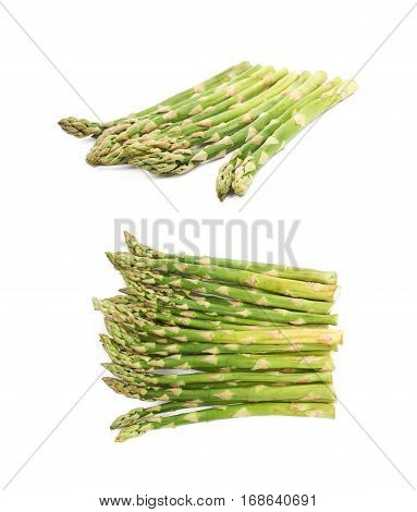 Pile of multiple cultivated green asparagus spears isolated over the white background, set of two different foreshortenings