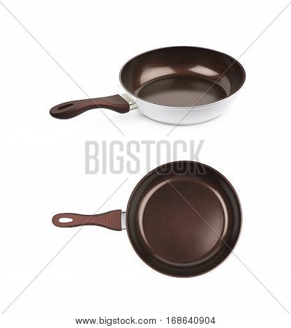 Brand new brown frying pan with a teflon coating, composition isolated over the white background, set of two different foreshortenings