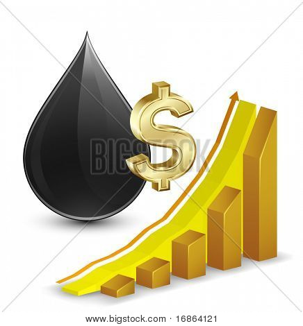 Crude oil price. Growth Chart with crude oil and dollar sign on background