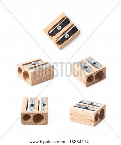 Wooden pencil sharpener isolated over the white background, set of five different foreshortenings