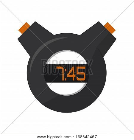 Stopwatch equipment vector illustration. Chronometer interval graphic circle with button. Sport measurement start competition deadline instrument.