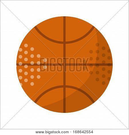 Basketball ball activity leisure and sport symbol. Team game orange rubber athletic equipment. Competition sphere play flat vector illustration. Teamwork dribbling professional tool.