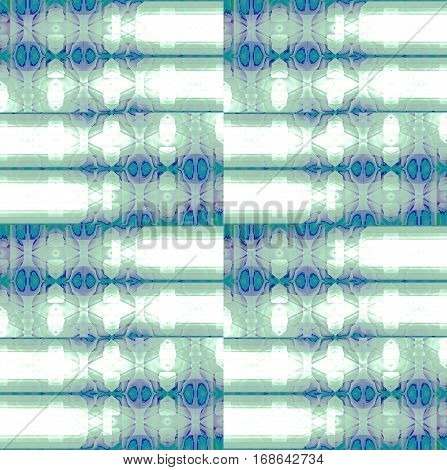 Abstract geometric seamless background. Regular checkered pattern white and pale green with elements in turquoise and purple.