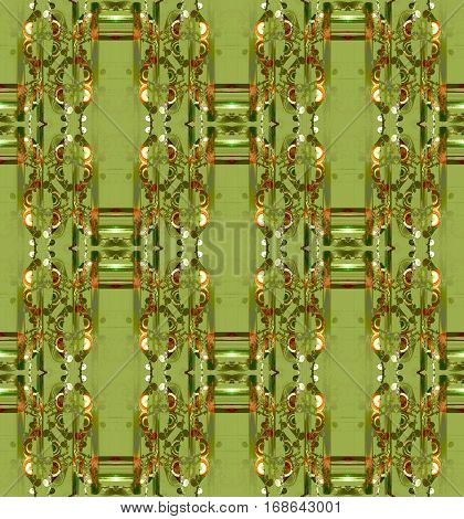 Abstract geometric seamless background. Regular ornaments in olive green and pale green shades with white and brown elements on light green.
