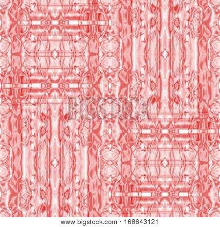 Abstract geometric seamless background. Regular intricate ornaments in pink and pastel red shades, ornate and extensive.