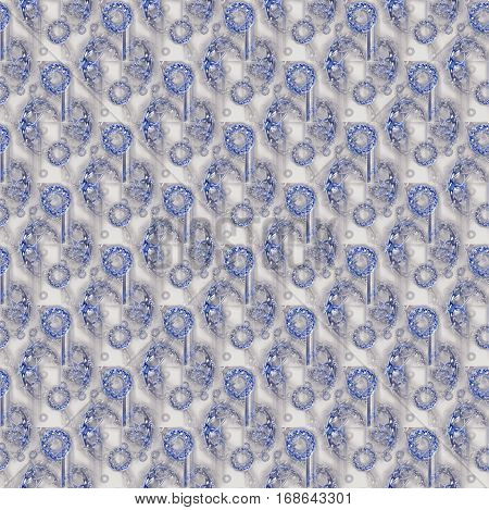 Abstract geometric seamless background. Shiny gems overlaying. Regular round pattern silver gray and blue, intricate and dreamy.
