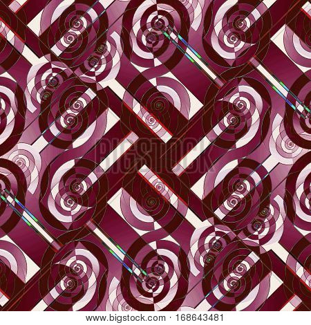 Abstract geometric seamless background diagonally. Regular intricate spiral pattern in red violet and purple shades with red brown and white elements, ornate and extensive.