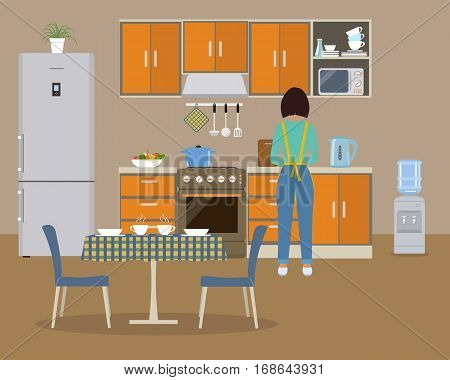 Kitchen in an orange color. There is a woman at the stove preparing food. There is a refrigerator, a kitchen furniture, a water cooler, a table, two chairs in the picture. Vector flat illustration
