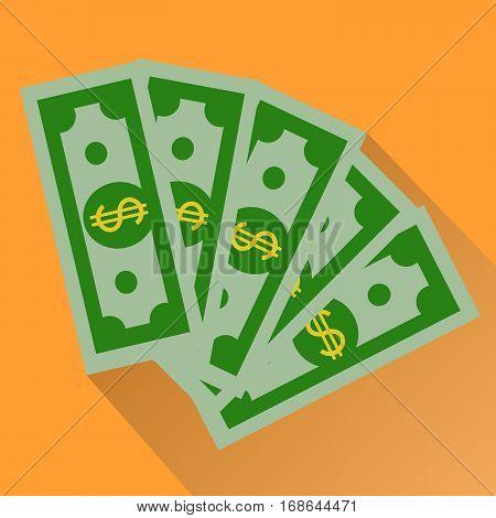 Cash, Green Dollars Icon isolated on orange background. Money Vector Illustration