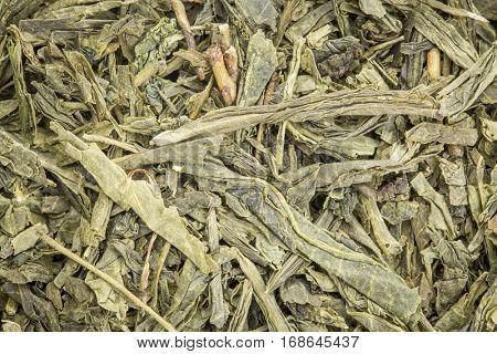 background texture of loose leaf sencha green tea