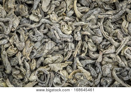 background texture of loose leaf young hyson (Lucky Dragon) green tea