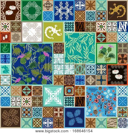 Colorful vintage tiles with Moroccan floral and geometrical patterns. Gradation of blue, brown and beige shadows.
