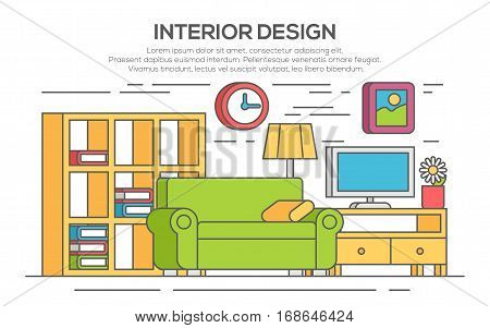 Living room with furniture. Concept of interior design. Thin line, flat design.