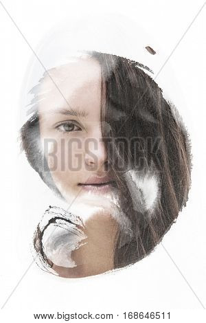 Portrait of a Young woman encircled by hand-drawn fading ink