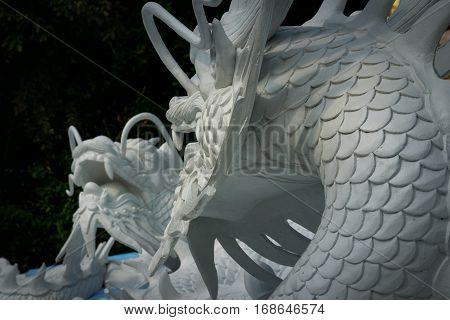 Many dragon statue in the public park at Hatyai Songkhla provice Thailand