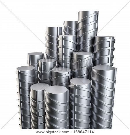 Steel reinforcements. Metal or construction industry. 3D illustration. Isolated on white