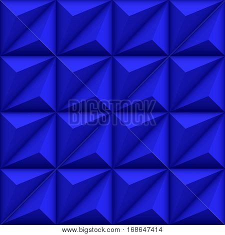 Abstract geometric seamless deep blue background with triangle shapes