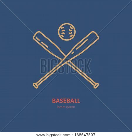 Baseball, softball vector line icon. Bats and ball logo, equipment sign. Sport competition illustration.