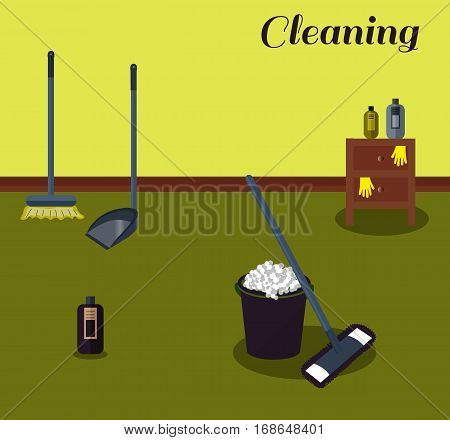 Tools for housekeeping: a violet bucket with soapy foam, MOP with dark blue handle and cloth and bottle of detergent with cover. Brown bedside table. Brush and dustpan. Vector illustration