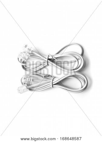 Closed up telephone cable (RJ-11) on white background