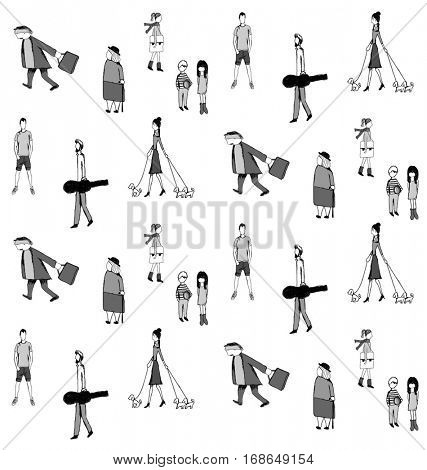 PEOPLE IN DAILY LIFE PATTERN. Women, men, kids, seniors. Editable and repeatable vector illustration design pattern.
