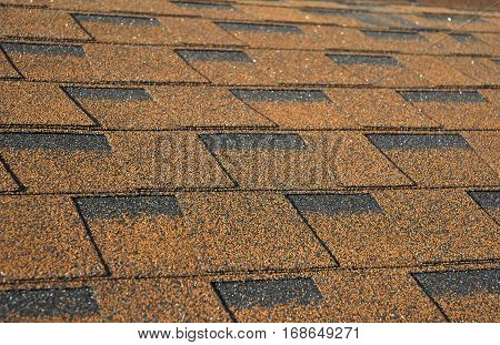Closeup on Roof Shingles. Roofing Shingles. Roofing Construction.