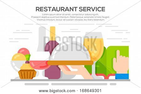 Restaurant service concept illustration. Food and drink background. Flat illustration catering party.