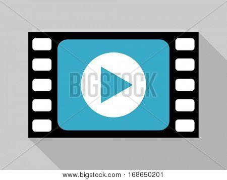 Flat design cartoon play video blue vector icon.