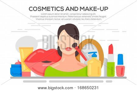 Make up beauty woman concept banner. Cosmetics and fashion background with make up artist objects