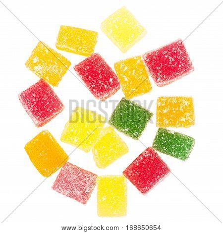 Colorful jelly candies isolated on white background