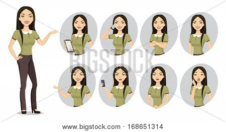 Portrait of asian woman. She is represented in 8 different poses, including crossed arms, talking the mobile phone, presenting something, etc.