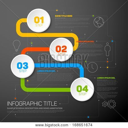 One two three four - colorful vector progress template with four steps on dark background