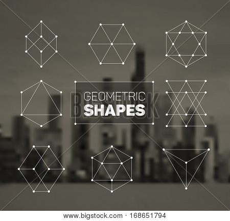 Vector abstract regular geometric shapes - white on city background