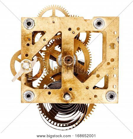 Closeup shot of an old grungy clockwork on white background