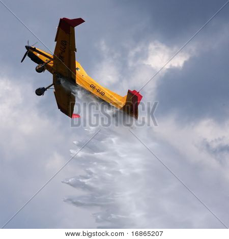 Fire fighting aircraft Z 37 ?melák in airport Plasy - Czech Republic Europe