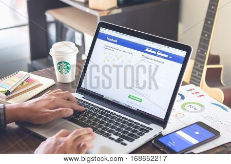 BANGKOK THAILAND - march 5 2017 : Login Screen Facebook icons on apple macbook pro. largest and most popular social networking site in the world.