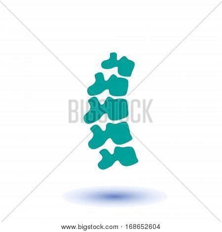 Vector  human spine isolated silhouette illustration. Spine pain medical center, clinic, institute, rehabilitation, diagnostic, surgery logo element. Spinal icon symbol design. Concept of scoliosis