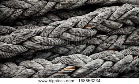 Abstract Texture Of Strong Thick Harbour Rope Symbolising Strength