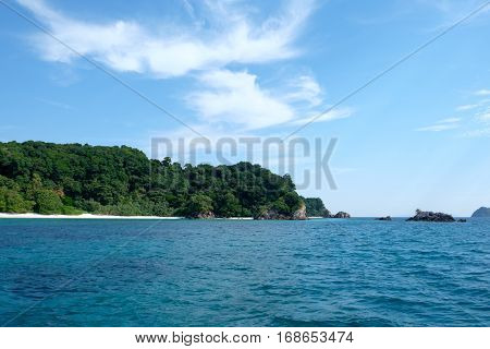 The mountains and sea scenery with blue sky Islands: Lord Loughborough Myanmar