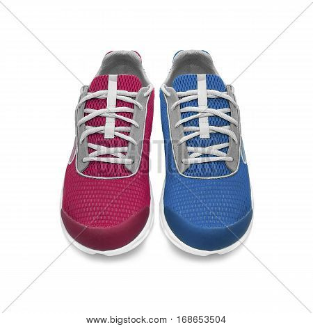 Pair of multicolored sneakers isolated on a white background. Blue and red sneakers.