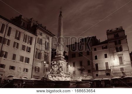 Piazza della Rotonda in front of Pantheon at night in Rome, Italy.