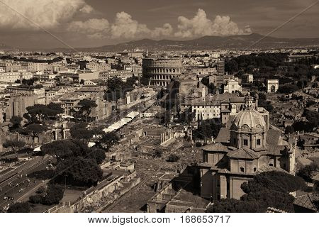 Rome rooftop view with ancient architecture in black and white in Italy.